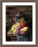 tableau nature morte naturemorte fruits corbeille vin : Le vase, le verre et la corbeille